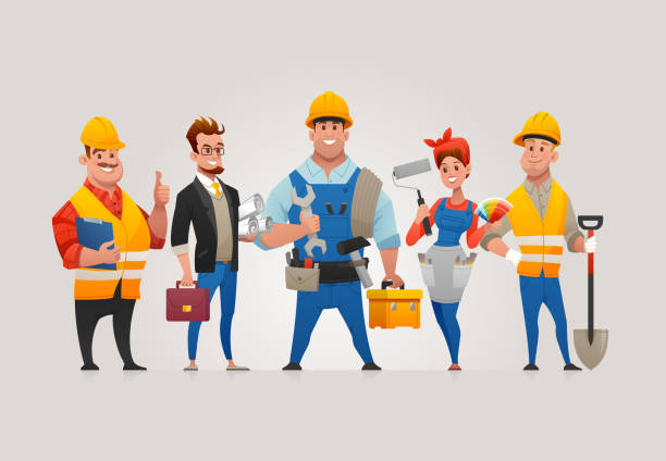Team of Construction Workers vector art illustration