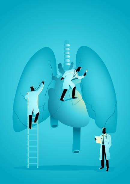 stockillustraties, clipart, cartoons en iconen met team van artsen diagnosticeren menselijke long en hart - longen