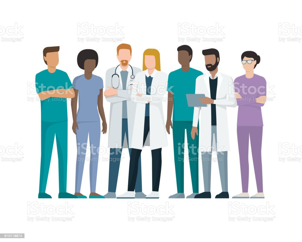 Team of doctors vector art illustration