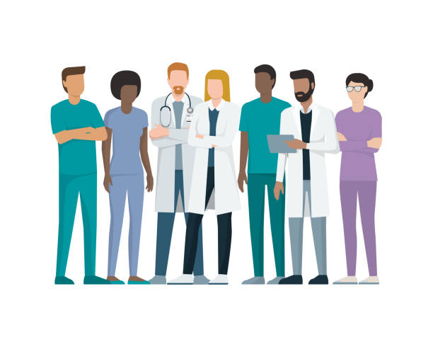 illustrazioni stock, clip art, cartoni animati e icone di tendenza di team of doctors - personale medico