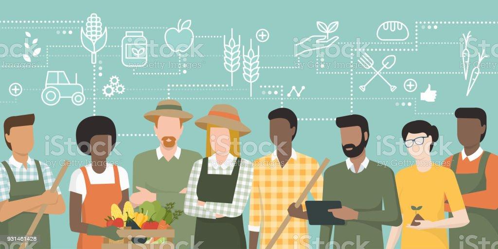 Equipo de agricultores que trabajan juntos - ilustración de arte vectorial