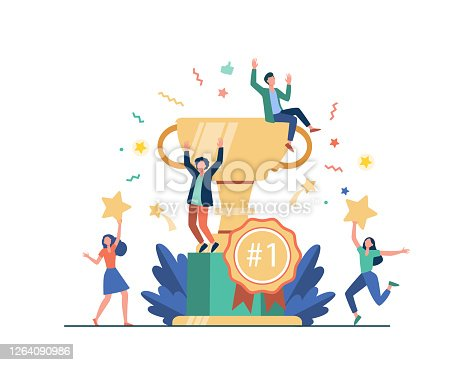 istock Team of happy employees winning award 1264090986