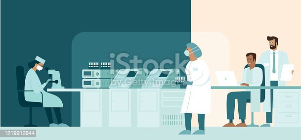 istock Team of medic scientist making research in lab. Development of vaccine protecting people from novel coronavirus causing covid-19 viral pneumonia outbreak 1219912644