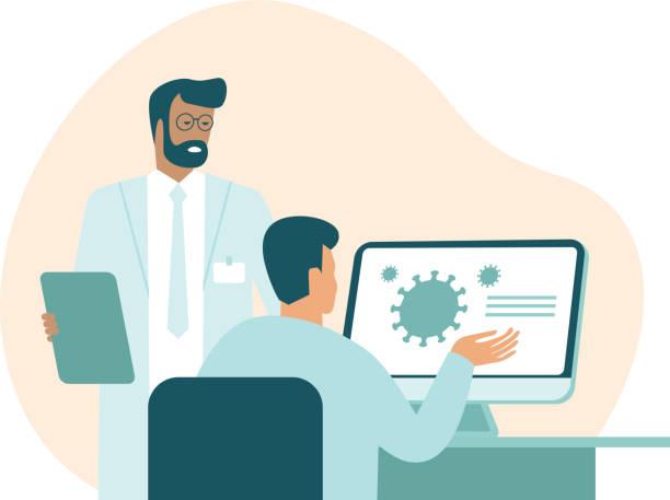Team of medic scientist making research in lab vector art illustration