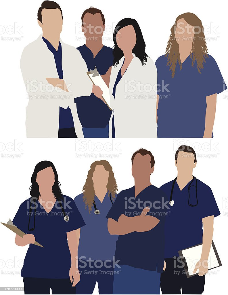Team of medical professionals vector art illustration