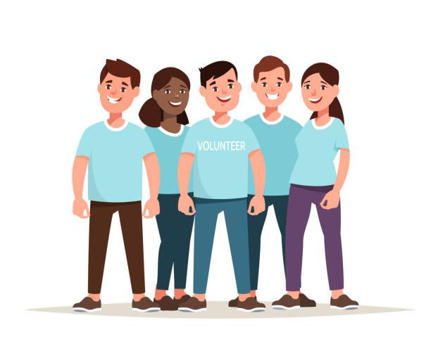 Team des multiethnischen Freiwilligen zusammen – Vektorgrafik