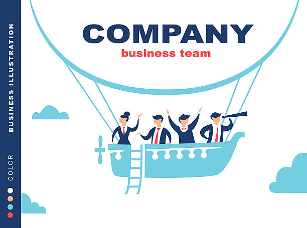 Team of people sailing on ship in the sky. vector art illustration