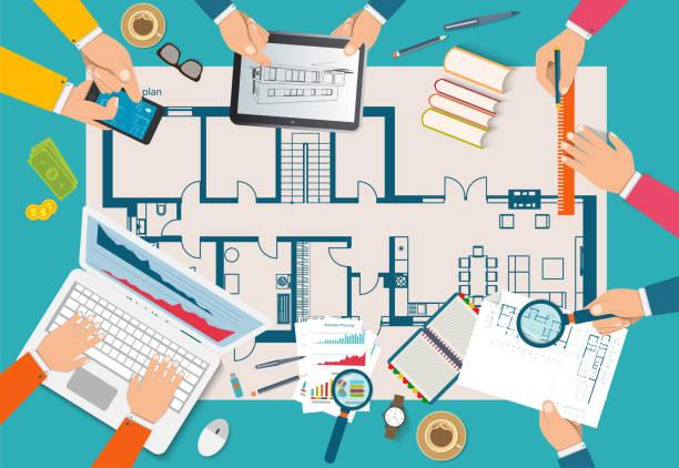 bildbanksillustrationer, clip art samt tecknat material och ikoner med team av människor som arbetar tillsammans för att planera byggandet av hus. lagarbete på arkitektonisk planering. - man architect computer