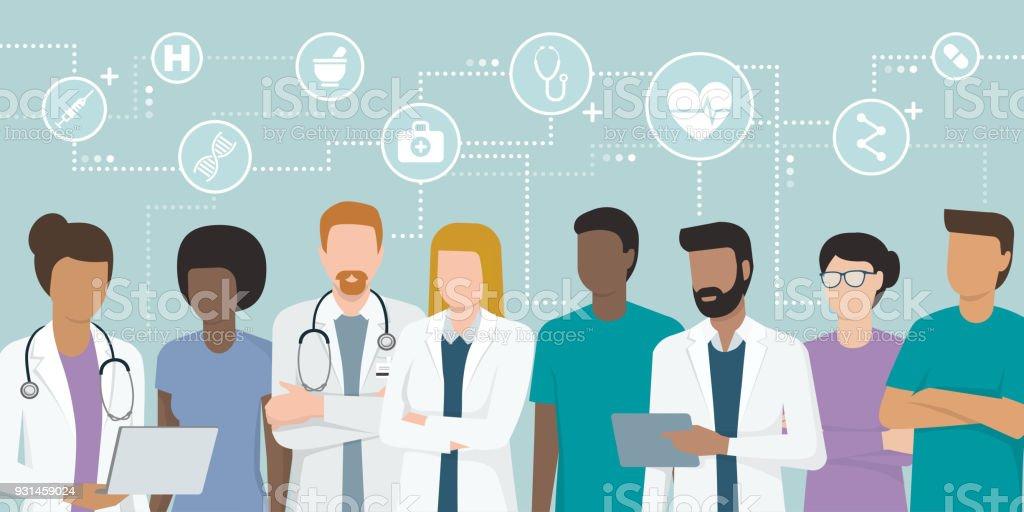 Team of professional doctors vector art illustration