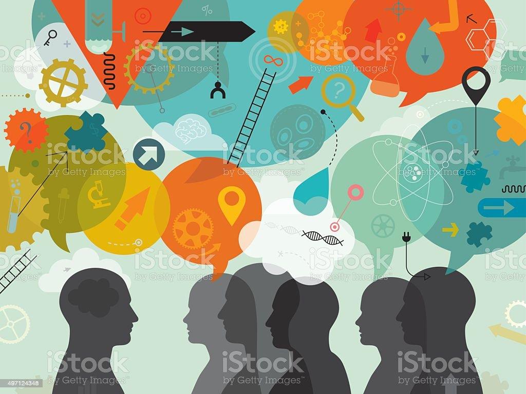Team Of Scientist Brainstorming vector art illustration