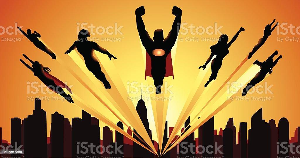 Team of Superheheroes Flying Silhouette vector art illustration