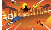A vector illustration of a team of superheroes flying toward a city devastated by a giant lizard.