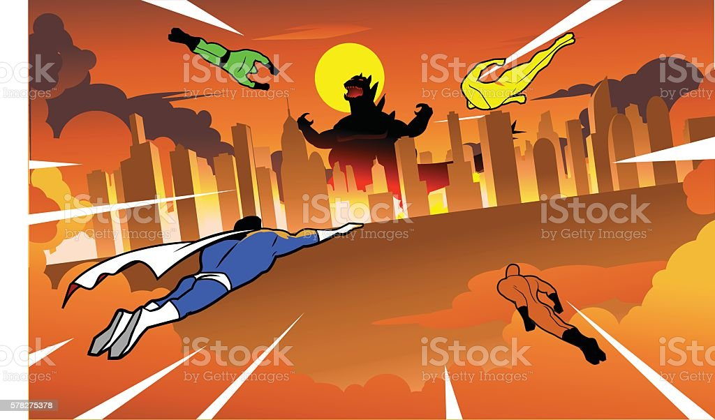 Team of superheroes flying to fight giant monster vector art illustration