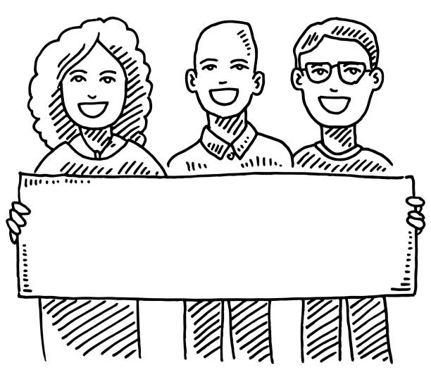Team Of Three People Holding Blank Sign Drawing Hand-drawn vector drawing of a Team Of Three People Holding Blank Sign. Black-and-White sketch on a transparent background (.eps-file). Included files are EPS (v10) and Hi-Res JPG. women stock illustrations