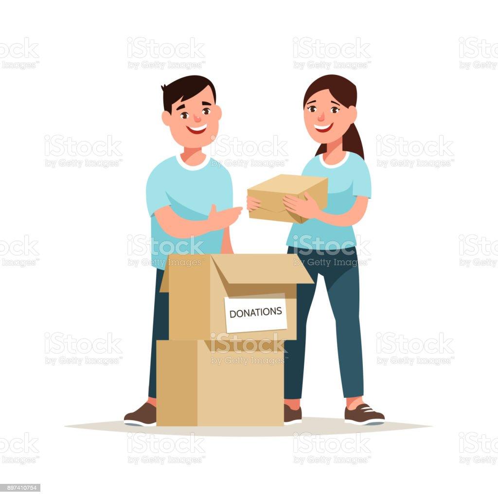 Team von freiwilligen Spenden Box – Vektorgrafik