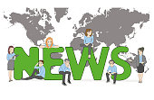 A team of young people is working on the news. Big word news on the background of the world map. vector illustration.