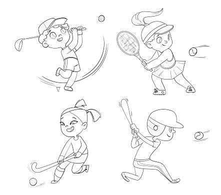 Team olympic sport. Field hockey, baseball, tennis, golfing. Set