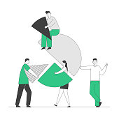 Team Partnership, Teamwork Cooperation Concept. Business People Connecting Huge Pie Chart Elements. Businesspeople Characters Set Up Separated Construction. Cartoon Flat Vector Illustration, Line Art