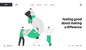 Team Partnership, Teamwork Cooperation Website Landing Page. Business People Connect Huge Pie Chart Elements. Characters Set Up Separated Construction Web Page Banner. Cartoon Flat Vector Illustration