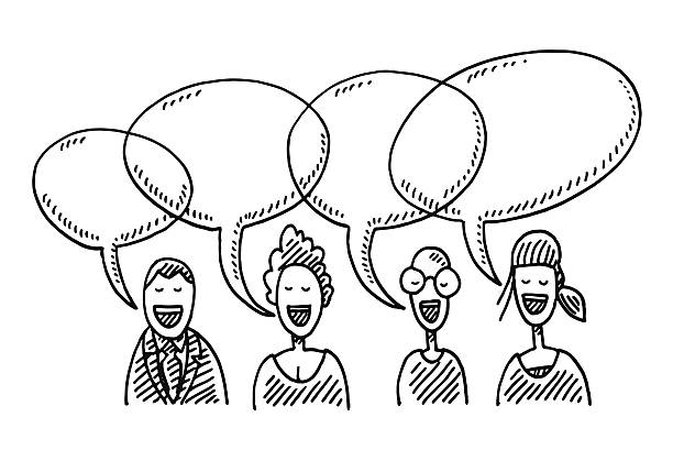 Team People Speech Bubbles Drawing Hand-drawn vector drawing of four People and Speech Bubbles, Business Team Communication Concept. Black-and-White sketch on a transparent background (.eps-file). Included files are EPS (v10) and Hi-Res JPG. women stock illustrations