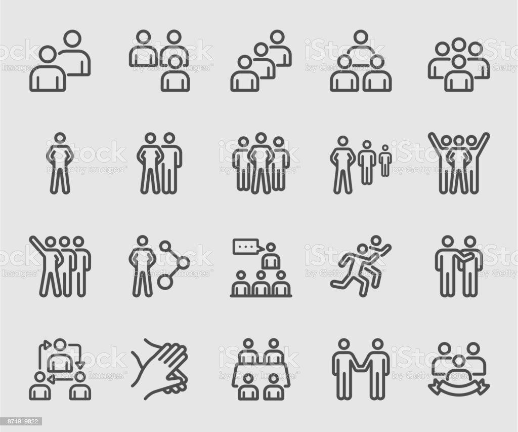 Team people, Teamwork, Partnership, Success line icon royalty-free team people teamwork partnership success line icon stock illustration - download image now