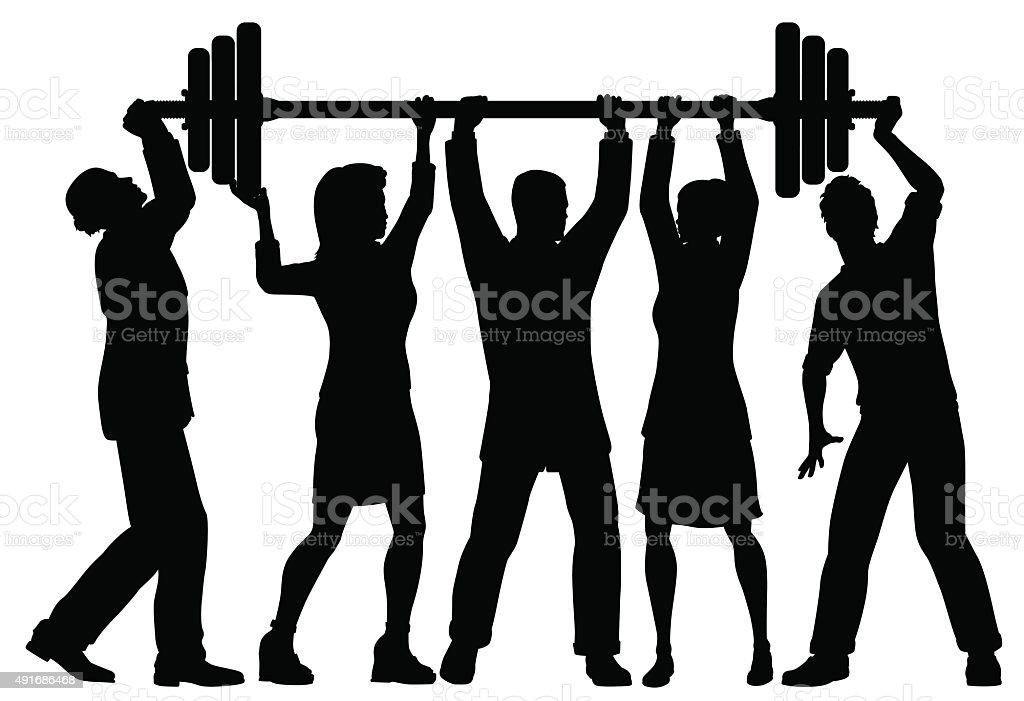 Team power vector art illustration