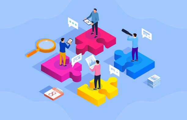 ilustraciones, imágenes clip art, dibujos animados e iconos de stock de equipo de puzzle y trabajo en equipo - social media