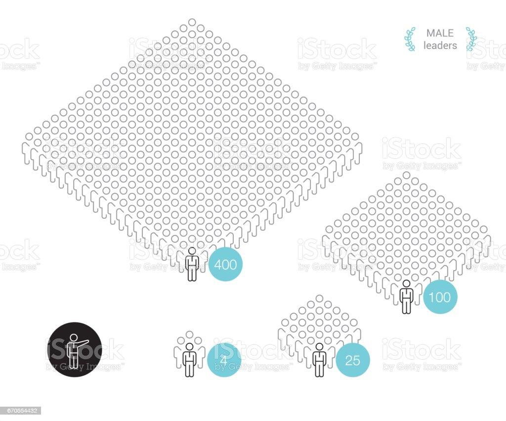 Taille de l'équipe - pixel parfait infographique - Illustration vectorielle