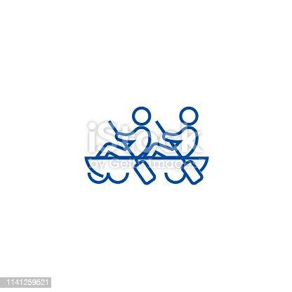 Team spirit,teamwork,canoe line concept icon. Team spirit,teamwork,canoe flat  vector website sign, outline symbol, illustration.