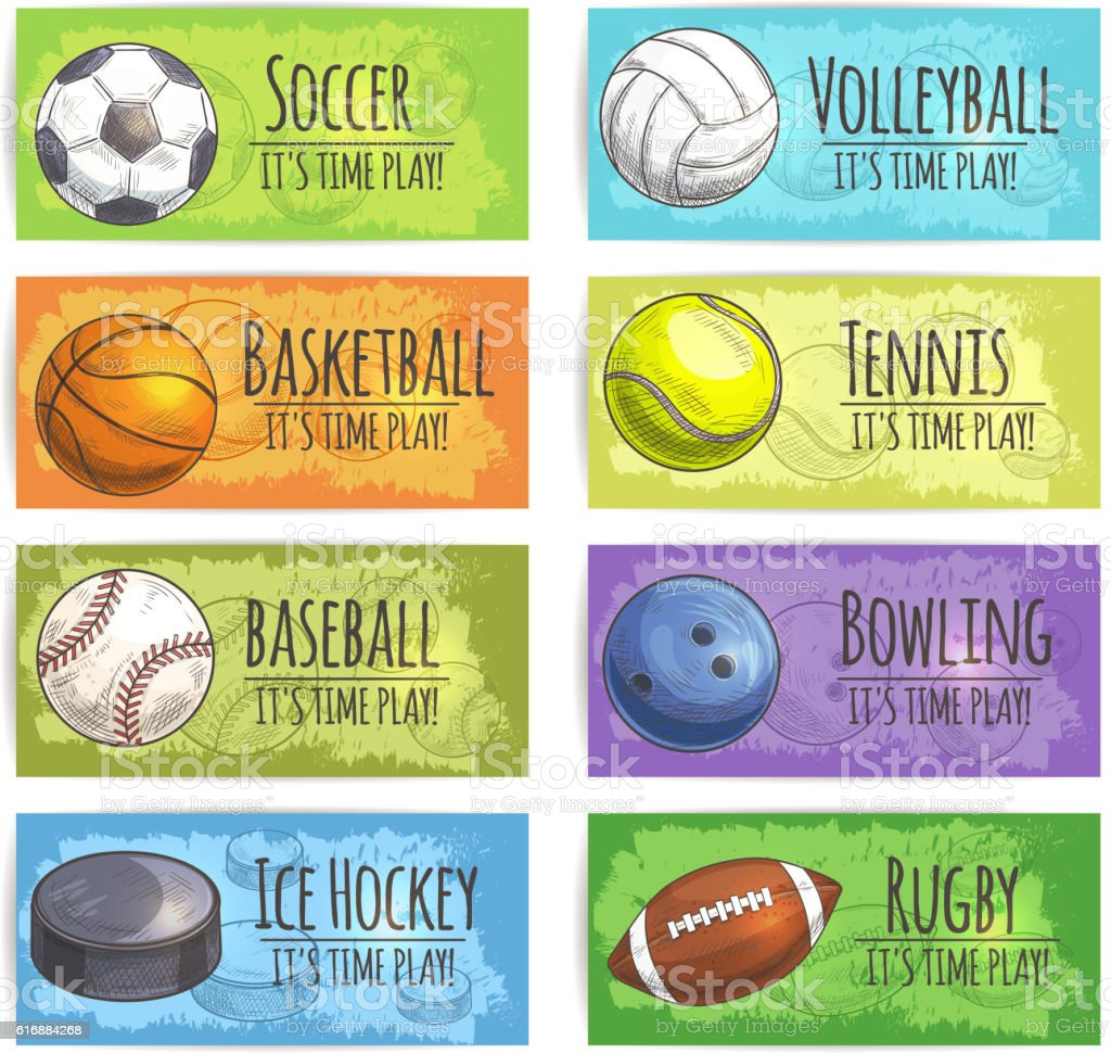 Team sport banners with balls vector art illustration