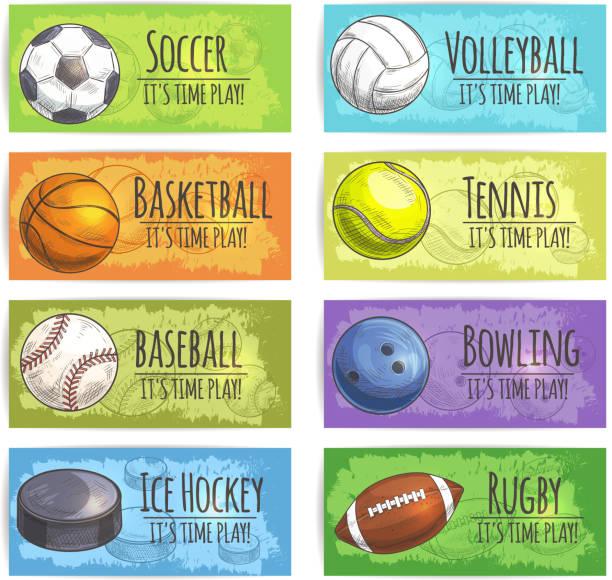 Team sport banners with balls vector art illustration