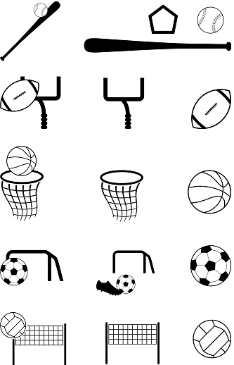 team sports black and white royalty free vector icon set