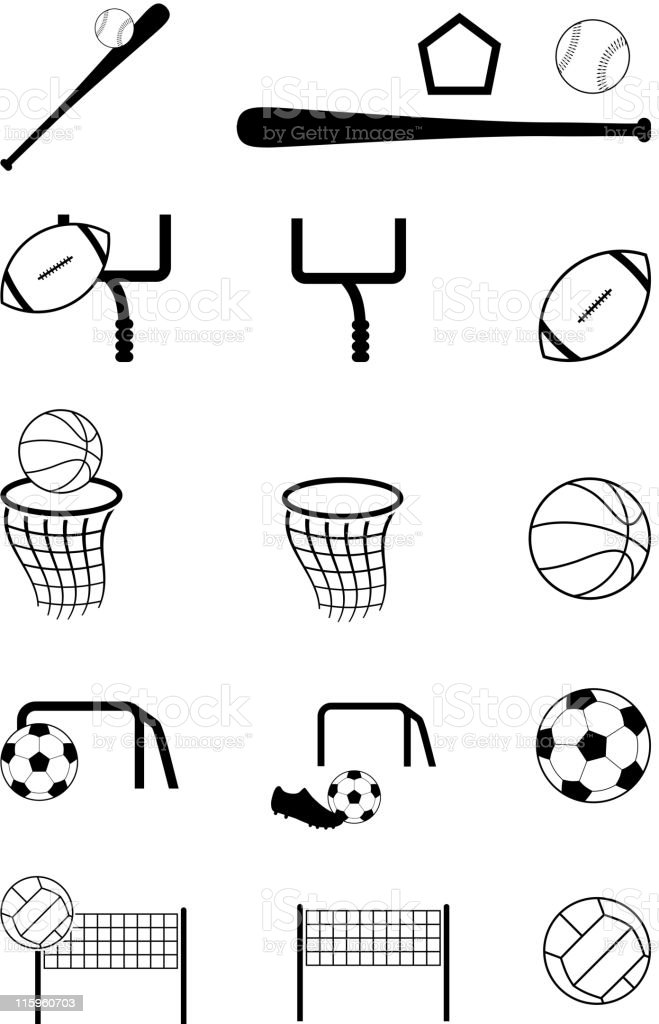 team sports black and white royalty free vector icon set vector art illustration