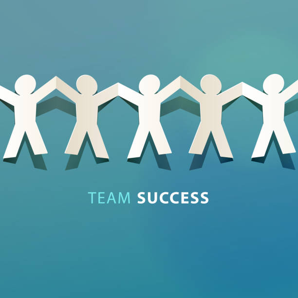 team success concept paper cut - repetition stock illustrations
