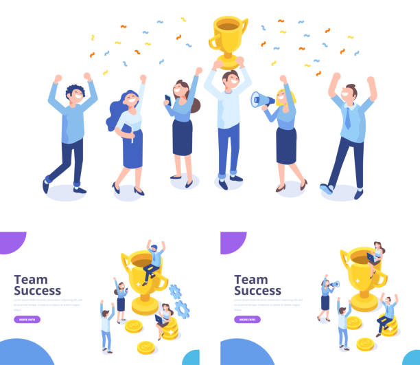 Team Success isometric vector illustration. Business people celebrating victory. Man sitting on the gold winner cup, happy people raising their hands. Vector illustration on white background achievement stock illustrations