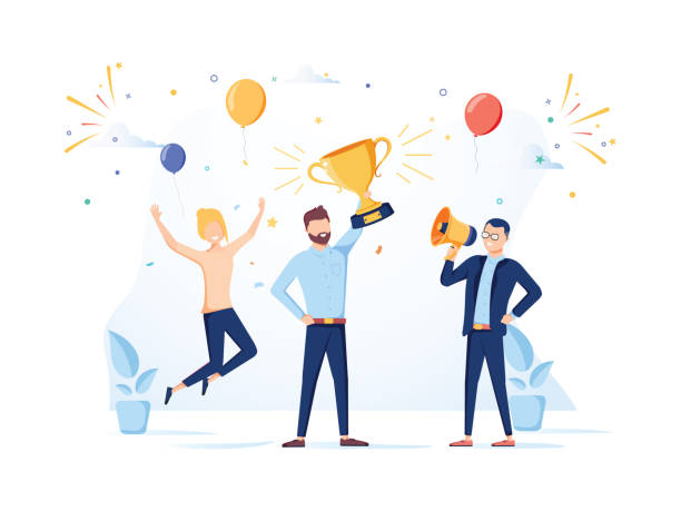 Team Success vector concept. Business people celebrating victory. Man holding gold cup. Flat Vector illustration. Team Success vector concept. Business people celebrating victory. Man holding gold cup. Flat Vector illustration. Achievement reward. Businessman and businesswoman happy in office. Victory prize motivation stock illustrations