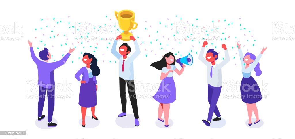Team Success vector illustration. Business people celebrating victory. - Grafika wektorowa royalty-free (Białe kołnierzyki)
