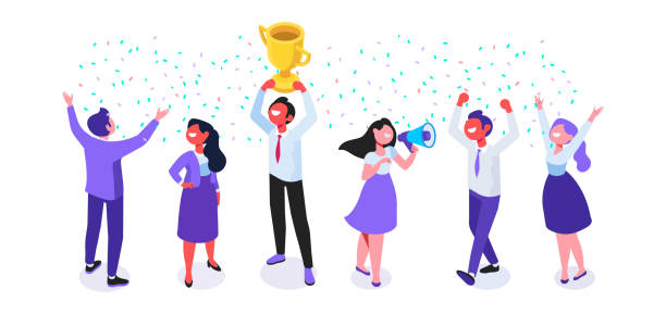Team Success vector illustration. Business people celebrating victory. Vector illustration of a flat design. achievement stock illustrations