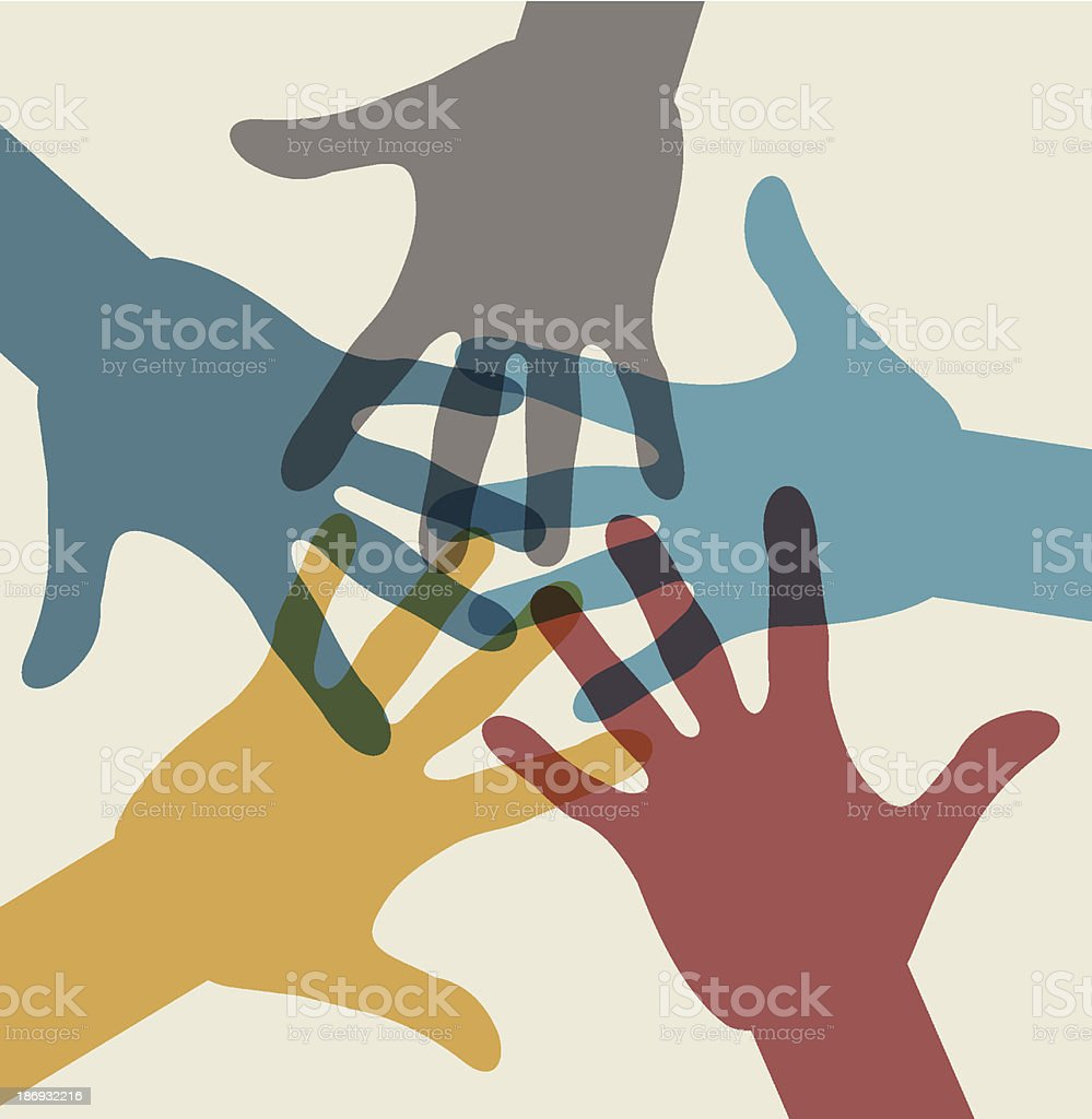 Team symbol. Multicolored hands royalty-free team symbol multicolored hands stock vector art & more images of altruism