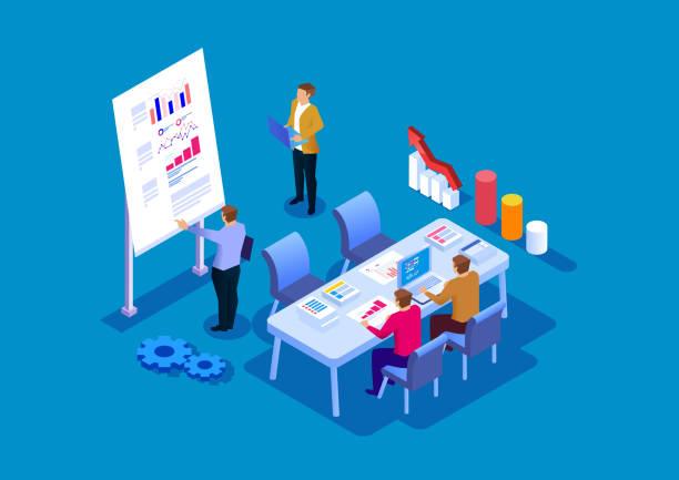 チームトレーニングとビジネス開発 - アイソメトリック点のイラスト素材/クリップアート素材/マンガ素材/アイコン素材