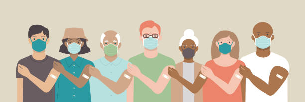 Team vaccinated. Ethnically diverse and mixed age group of people showing their shoulders with band-aids on after getting a vaccine. Vaccination campaign concept. vector art illustration