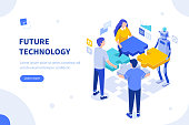 Interaction between team and robot. Can use for web banner, infographics, hero images. Flat isometric vector illustration isolated on white background.