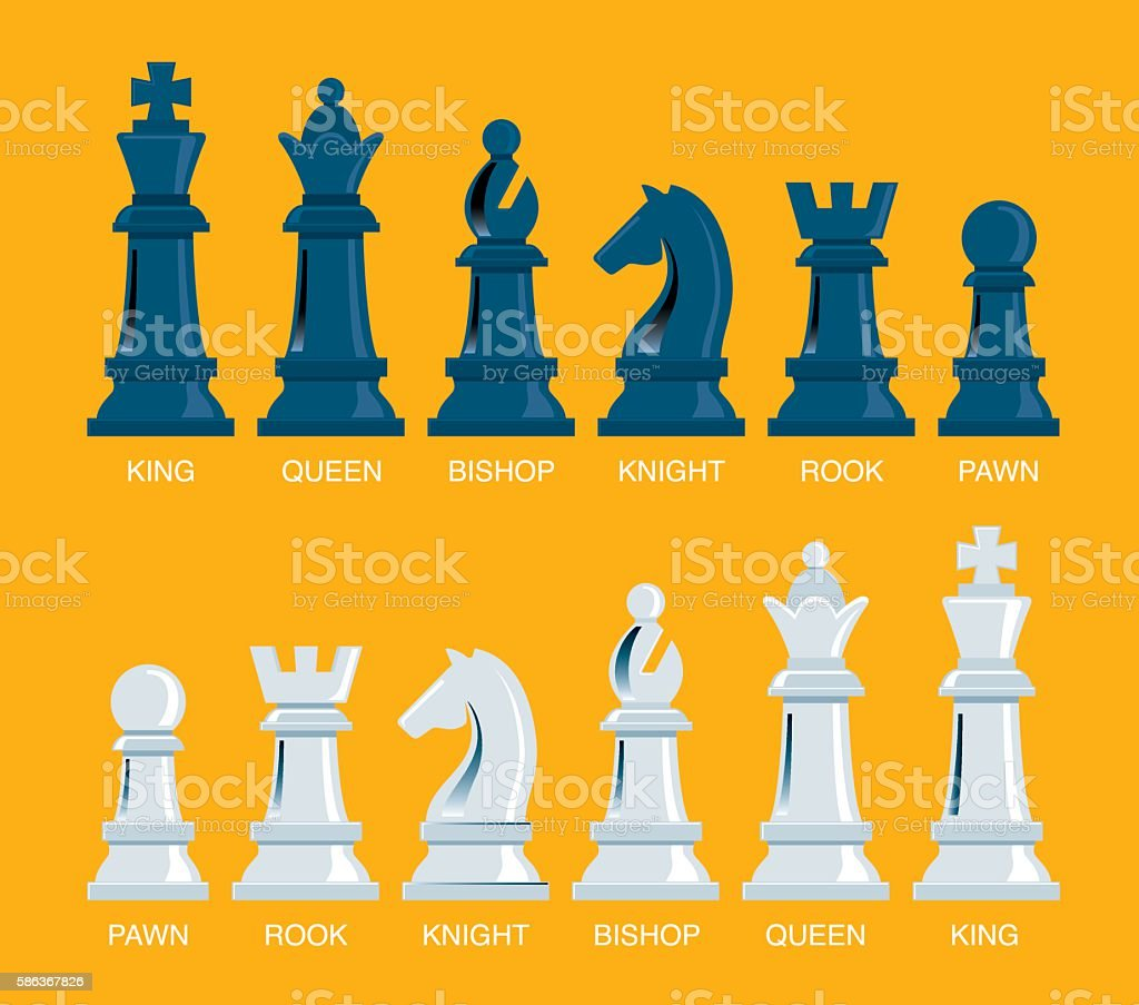 Team with chess pieces vector art illustration