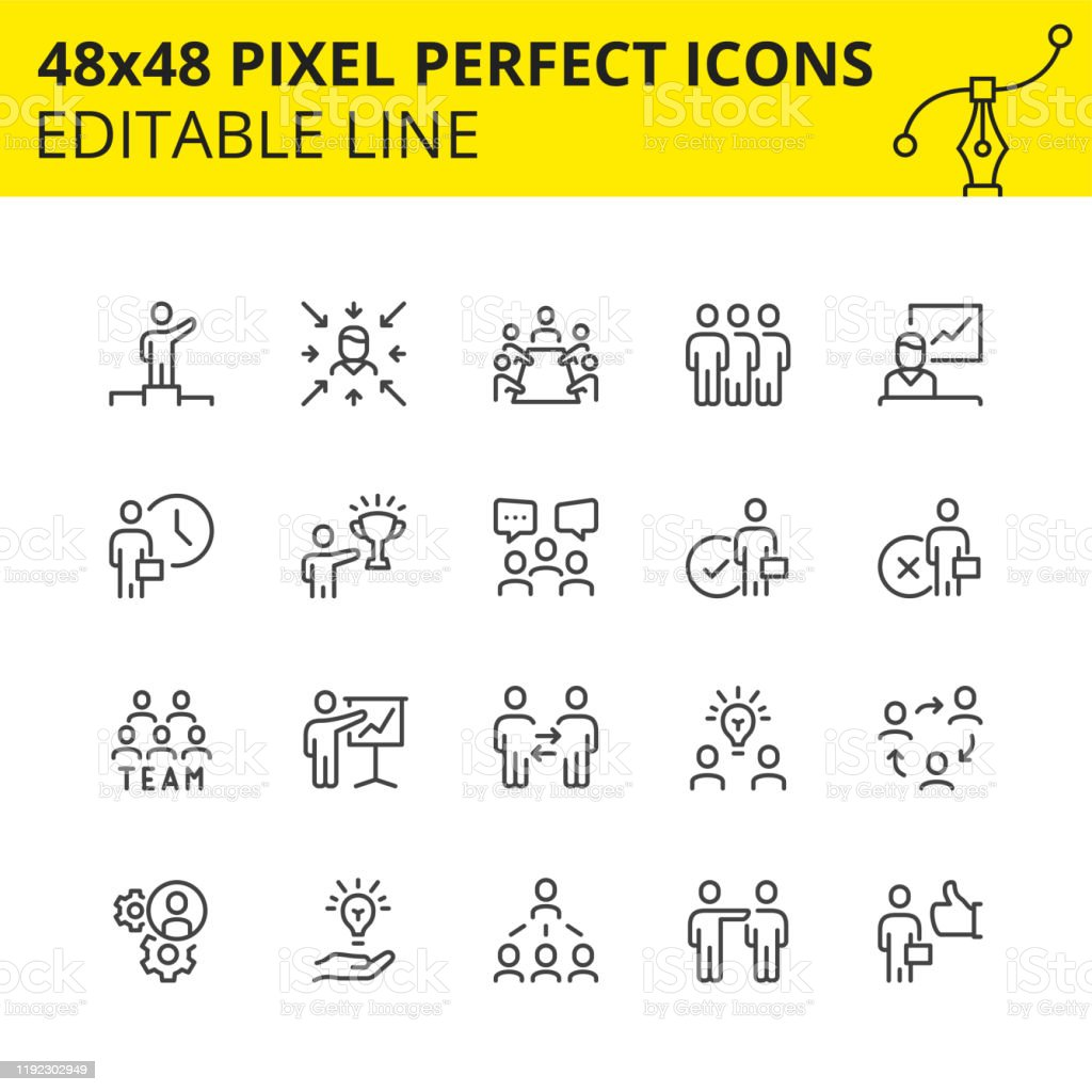 Team work and business icons image. Simple set of  stroke icons for team work and business people. Contains such icons as meeting, collaboration, inspector, team structure etc. 48x48 Pixel perfect. Editable line. Vector-Vector. 1980-1989 stock vector