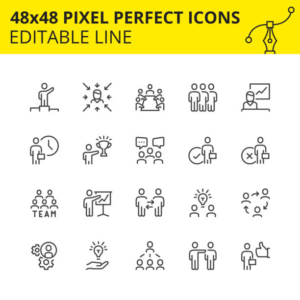 Team work and business icons image. Simple set of  stroke icons for team work and business people. Contains such icons as meeting, collaboration, inspector, team structure etc. 48x48 Pixel perfect. Editable line. Vector-Vector. collaboration stock illustrations