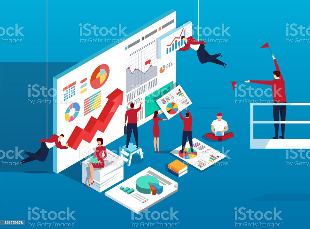 Team work and data analysis vector art illustration