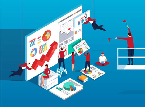 ilustrações, clipart, desenhos animados e ícones de análise de dados e trabalho de equipe - gerente de projetos