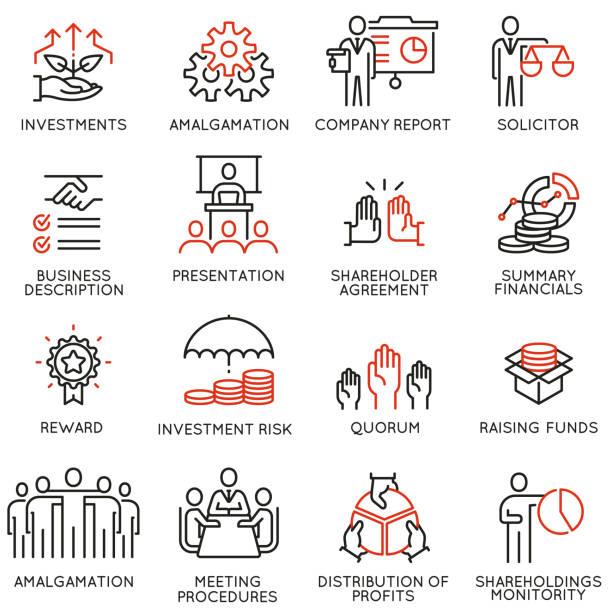 ilustrações, clipart, desenhos animados e ícones de equipe trabalho e partes interessadas ícones - parte 3 - investimento