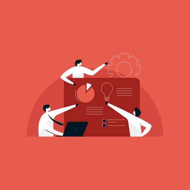 teamarbeit und arbeitsablauf, teammanagementkonzept, business solution illustration - webdesigner grafiken stock-grafiken, -clipart, -cartoons und -symbole