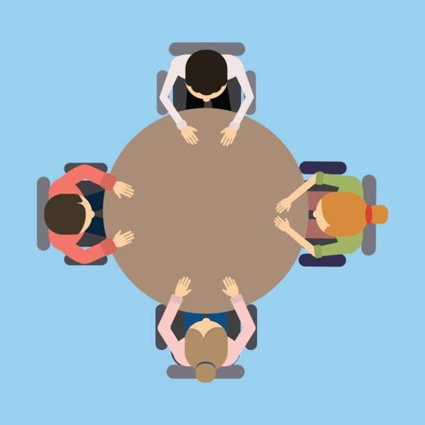 illustrazioni stock, clip art, cartoni animati e icone di tendenza di team work at the table. - business meeting, table view from above